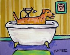 Irish Terrier taking a Bath bathroom art print 8.5x11