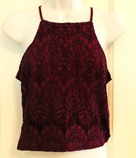 Kendall + Kylie women Lace Crop Top spaghetti Straps Wine Burgundy Sz. Small