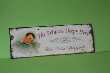 Blechschild  The Princess Sleeps Here 36 x 13 cm Eisen Neu    TP-3
