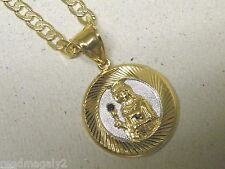 Men's Rhodium Yellow Gold Plated Round Santa Barbara Charm Cuban Chain 24in Set