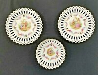 VINTAGE SCHUMANN BAVARIA RETICULATED DISHES, 3 PIECE SET of COURTING COUPLES