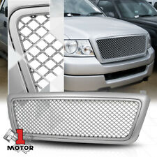 For 2004-2008 Ford F150/Mark LT {3D WAVE MESH} Glossy Silver ABS Bumper Grille