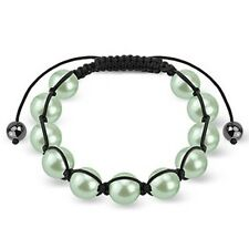 Shamballa Bracelet with Green Pearlish Beads K137