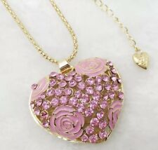 Betsey Johnson Necklace HEART CRYSTALS GOLD LOVE  WORLD PEACE