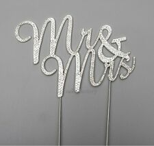 WEDDING CAKE TOPPER PICK DECORATION SILVER MR & MRS RHINESTONE DIAMANTE (new)