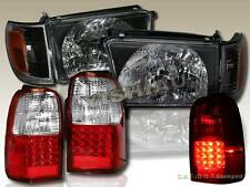 1996-1998 TOYOTA 4RUNNER JDM BLACK HEADLIGHTS CORNER LIGHTS + LED TAIL LIGHT RED