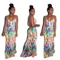 Stylish Women Sleeveless Tie Dye Print Backless Low Cut Club Long Dress Party