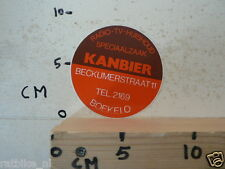 STICKER,DECAL KANBIER BOEKELO RADIO - TV- HUISHOUD BECKUMERSTRAAT AUDIO