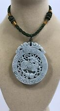 """Handcrafted knot work cord adjustable jade carved """"PiXiu"""" round pendant"""