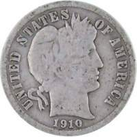 1910 Barber Dime AG About Good 90% Silver 10c US Type Coin Collectible