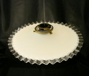 6 Vintage French Milk Glass Shade with Clear Pleated Frills