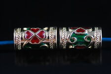 Wholesale 10ps Thai Wind Enamel Metal Beads Spacer Craft Jewelry Finding 13*7mm