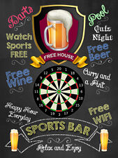 Sports Bar, Retro metal Sign vintage / man cave / Bar / Pub