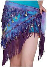 Cheap Triangle Belly Dance Wrap Skirt Hip Scarf Sequin Festival Belt Purple Blue