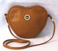 LANCEL Paris Brown Pebbled Leather Heart Shape Shoulder Bag, Made In ITALY