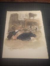 """Ancienne Aquarelle Charles Auguste EDELMANN -"""" HOMME SAOUL """" Bretagne - Marin"""