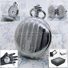 Silver Pocket Watch Men Fashions Quartz Arabic Numbers Dial with Chain Box P139