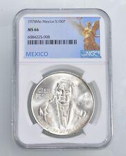 1978-Mo 100 Pesos SILVER NGC - MS66 MEXICO Mexican *482