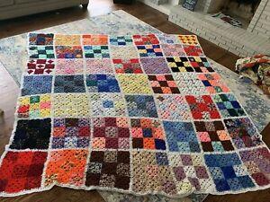 Vintage Afghan Crochet Granny Square Blanket Handmade Huge King 120 X 120 Inches