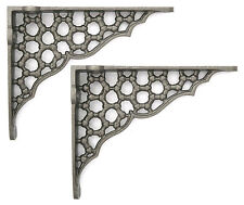 "Pair 6"" Small Cast Iron Honeycomb Shelf Brackets  ornate antique style 15 x 12cm"