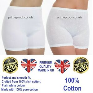 3 X PAIRS LADIES WOMEN 100% COTTON INTERLOCK CUFF LEG PANTIES WHITE (UK MADE)