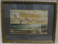 """19TH C 1872 WATERCOLOR MARITIME ANTIQUE PAINTING - SAM BOUGH """"THE KELP GATHERS"""""""