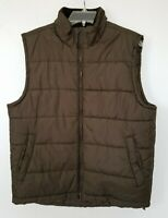 Nordic Track Womens Puffer Vest Brown Zip Pockets Lined Hem Drawcord Size M