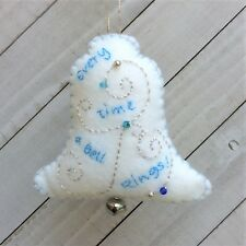 Christmas Bell Ornament  Holiday Felt Embroidery Kit.  in Silver and Blues