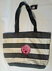 PITTSBURGH STEELERS LARGE STRIPED CANVAS TOTE  BAG