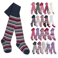 3 Pairs Baby Babies Girls Design Tights Cotton Rich Printed Warm Cosy Comfy