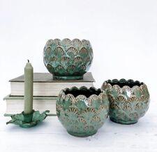 Vintage Art Deco Style Green Ceramic Leaf Flower Plant Pot Wedding Planter Decor