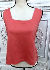 Coral Orange Size S FRESH PRODUCE Cropped Square Neck Tank Top Sleeveless Cute