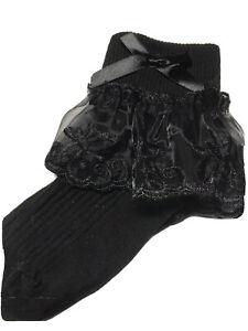 BLACK BIG LACE SOCKS WITH BOW SPANISH STYLE sizes 6-8,9-12 & 12-3.