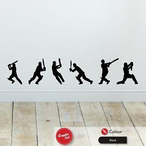 x6 Cricket Wall Sticker Cricketers Skirting Board Boys Bedroom Vinyl Boys Decals