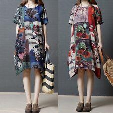 Zanzea AU14-24 Women Floral Casual Summer Short Sleeve Irregular Maxi Dress Top