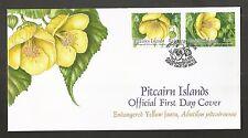 PITCAIRN ISLANDS 2011 YELLOW FAUTU FLOWER FDC SG,821-822 LOT 4350A