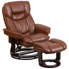 Contemporary Brown Leather Recliner and Ottoman with Wood Base BT-7821-VIN-GG