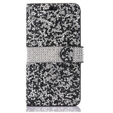 3D Bling Jelly Rhinestone PU Leather Wallet Flip Case For iPhone Samsung Phone
