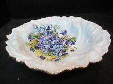 Purple Flower Artist Smith Very Heavy, Thick Serving Bowl Gold Scalloped Rim