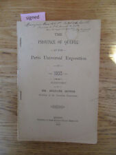 Province of Quebec at Paris Universal exposition 1900 report DUPUIS Signed