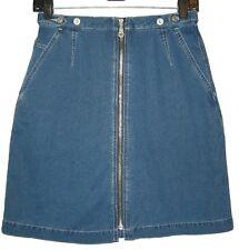 Sexy Liz Claiborne Sz 6 Denim Zip Front Mini Skirt! Subtle Denim Stripe, Perfect