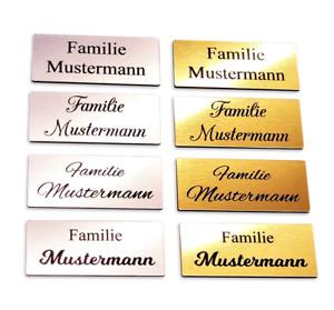 Klingelschild Türschild Briefkastenschild Namensschild selbstklebend inkl Gravur