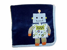 Babies R Us Navy Blue Robot Baby Blanket Security Lovey
