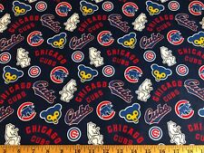 NEW MLB CHICAGO CUBS COTTON Fabric 1/4 yard=9in X 44 inches COOPERSTOWN DIY MASK