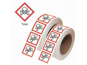 TOXIC GHS LABELS ROLL OF 1000 20MM X 20MM