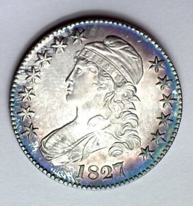 1827 CAPPED BUST SILVER 50 CENTS GEM UNC SQUARE BASE 2 NICE COLOR RARE THIS NICE