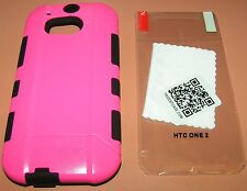 Trident Aegis Hybrid Case HTC One M8, Pink and Black with screen protector, NEW