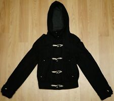 topshop zip & toggle black hooded coat 61% wool uk 8 eu 36
