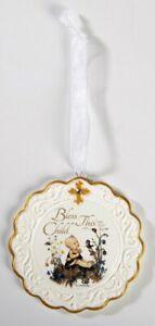Hummel Bless This Child Baptism Porcelain Cradle Crib Medal