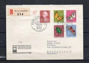 SUISSE - Série PRO JUVENTUTE 1957 PAPILLONS & Insecte obl.1er jour Emission